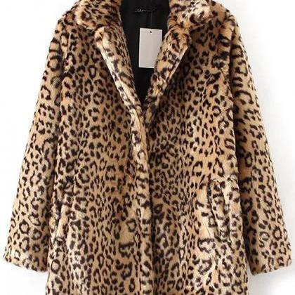 Leopard Print Button Up Faux Fur Co..