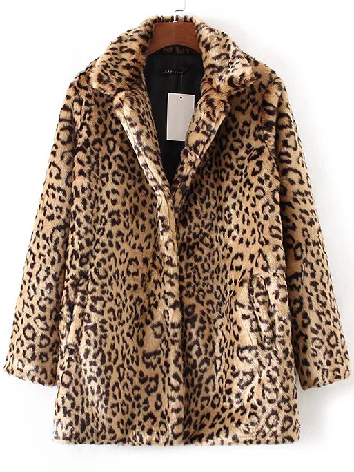 Leopard Print Button Up Faux Fur Coat