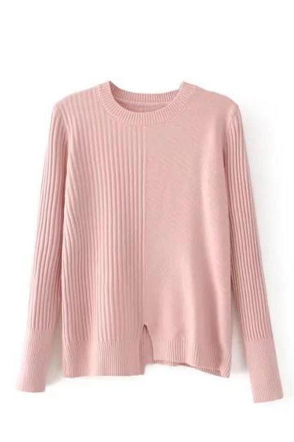 Women's Fashion Irregular Striped Round Neck Knitted Slit Loose Pullover Sweater Tops