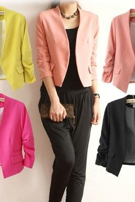 Women Fashion Candy Color Slim Buttonless Three Quarter Sleeve Suit Blazer