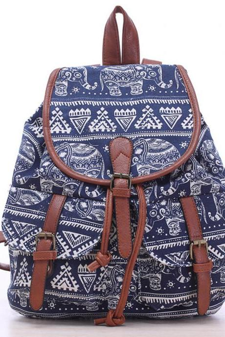 Elephant Printed Canvas Rucksack College Backpack