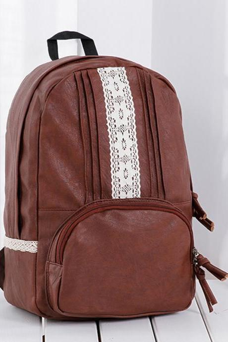 Vintage PU Leather Folds Lace Solid Leisure Travel Backpack School Bag