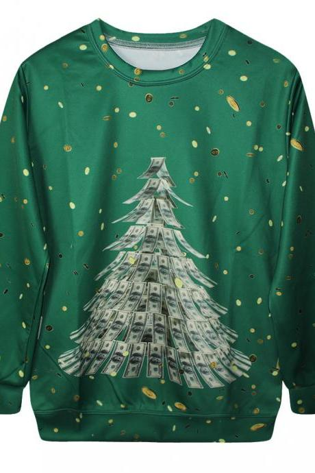 Digital Printed Personalized Dollars Christmas Loose Long-sleeved Pullover Sweatshirt