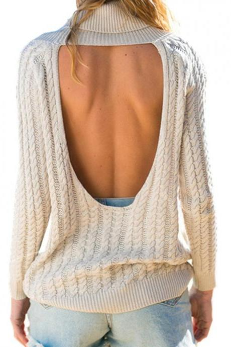 Women's High Roll Neck Backless Long Sleeve Loose Casual Top Pullover Sweater,Beige,Onesize