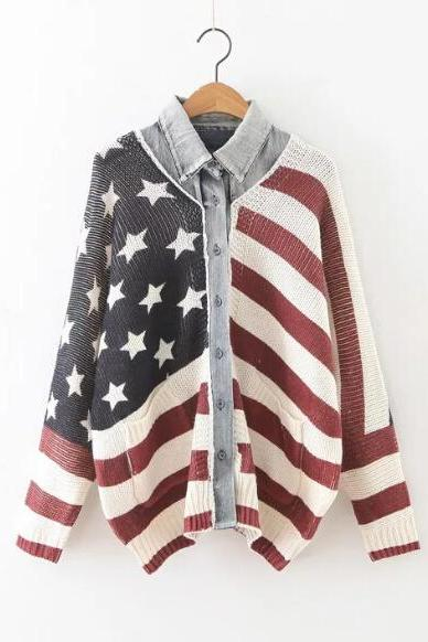 Multicolor American Flag 2 In 1 Sweater Coat