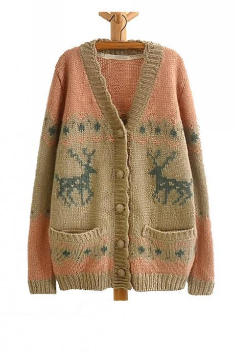 Loose Flounce Fawn Jacquard Warm Cardigan Sweater For Women