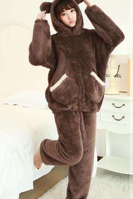 Super Cute Plush Home Furnishing Cartoon Long Sleeved Pajamas Suit