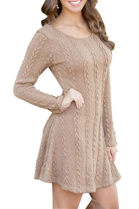 Women's Crewneck Knitted Long Sleeve Sweater Dress