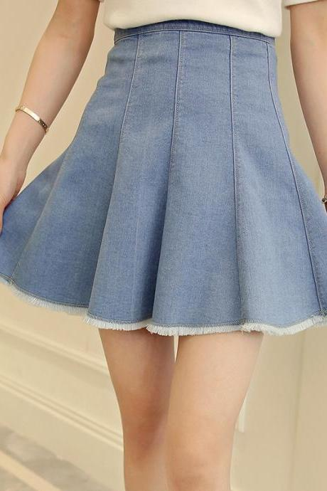 Denim Pleated Skater Skirt with Frayed Hem