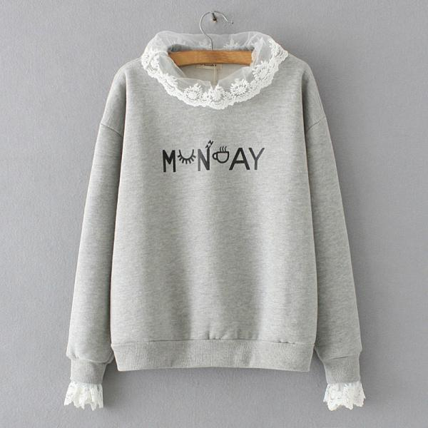 Women's Fashion Lace Stitching Thick Cartoon Cotton Long-sleeved Pullover Sweatshirt