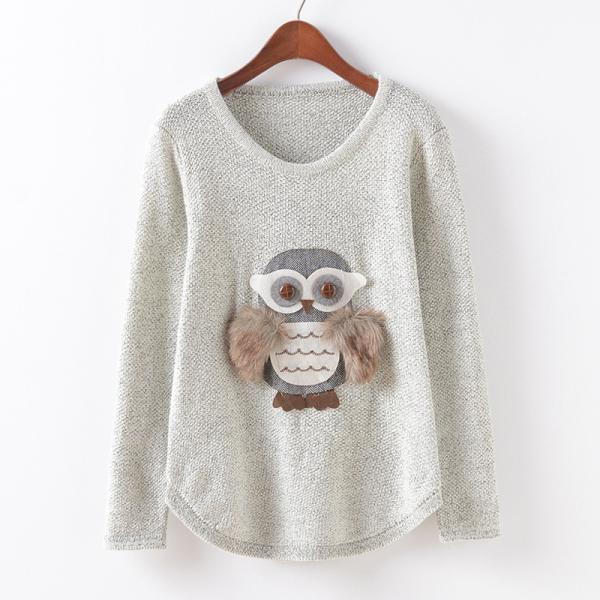 Owl Stickers Round Neck Long Sleeve Loose Knit Pullover Sweater
